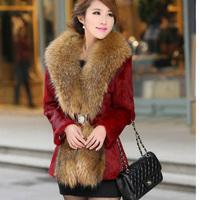 New 2014 Winter slim plus size clothing large fur collar faux medium-long fur overcoat outerwear fur coat Women's Clothing