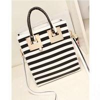 2014 Black and white stripe fashion 2014 women's handbag shoulder large bag square messenger bag Hardware Gold Button Bag