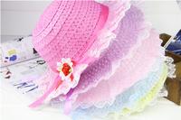 Korean lace bonnet summer straw hat sun hat large brimmed hat baby hat wholesale children