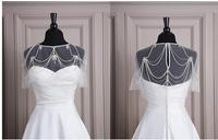 Sexy See Through Beading Sequins Cloak Chiffon Wedding Jacket Bolero Shawl Wrap Wedding Dress Party Transparent