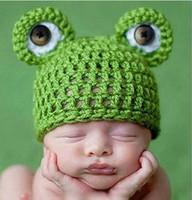 Baby Infant Newborn Handmade Crochet Knit Cap Frog Hat Costume Photograph Prop For Girl Boy GiftFreeShipping