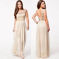 Hollow Lace Sleeveless Halter Dress 2014 Hot Sell Women Summer Dress White Top Crochet Sexy Lace Chiffon Maxi Dress Big Swing XL