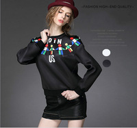 2014 New Autumn Women Casual Pullover Hoodies Fashion Long Sleeve Geometric Print Space Cotton Top Sweatshirt Sport Hoody White
