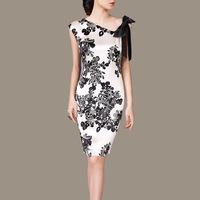 High quality summer women elegant 100% silk printed vintage slim dresses ,casual dress K91