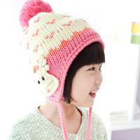 Han Guoqiu handmade cartoon deer velvet winter warm wool knit hat baby hat child