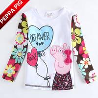 New 2015 Hot Selling Nova Kids Girls Peppa Pig T-shirts Fashion Baby Girls Flowers Peppa Long Sleeve Sweatshirt