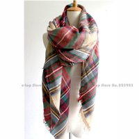 za Winter 2014 Tartan Scarf Desigual Plaid New Designer Acrylic Shawls wrap pashmina Unisex Scarves Big Size Free Shipping