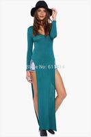 Free shipping euramerican fashion long sleeve V neck expansion dress,two side slits enening dress