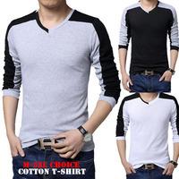 2014 Autumn T Shirt Soft Patchwork High Quality Men's Cotton Large Size 5XL T-shirt Fashion Men Long Sleeve 3 Colors Sale HS212