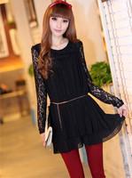 Sweet Women Girl Lace Chiffon Pleated Tiered Dress Long Sleeves Black