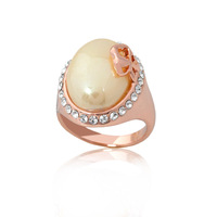 Min.order is $15 Oval Pearl with Clover Finger Ring Fashion Jewelry R2961