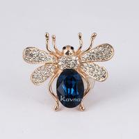 Kavnar Brand 18K Rose Gold Plated Blue/Red Crystal Animal Adjustable Ring R3816