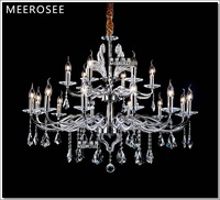 Large Chrome Silver Color Crystal Metal Chandelier Lamp fixtures with 18 lamps Free shipping
