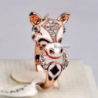 18K Rose Gold Plated Enamel Horse Design Animal Finger Ring R3839