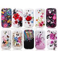 200 pcs/lot Flower Design TPU Gel Rubber Skin Case Cover for Samsun Galaxy S3 I9300