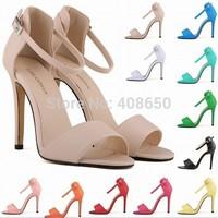 New 2014 Fashion Women Sandals 11cm Open Toe Ankle Straps Sandals High Heels Summer BRIDAL Matt Leather Pumps shoes for women