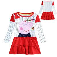 2014 New Peppa pig girls wedding dress children party evening dresses peppa casual dress kids princess dresses children clothing