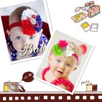 2014 latest three children ribbon yarn flower diamond hoop a generation of fat children FS-009
