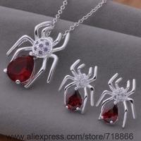 AS383 925 sterling silver Jewelry Sets Necklace 708 + Earring 600 /awtajoaa bilajzsa