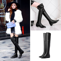 Sexy Fashion Pointed toe Suede and PU leather Winter Women thigh high martin boots,2014 Woman Elegant Nubuck/Soft leather shoes