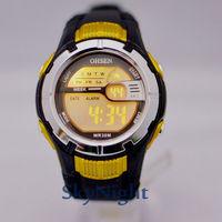2014 New OHSEN Fasion Cool Yellow Case 7color LED Light Sport Digital Men women Boy Sport Watch 0922-3
