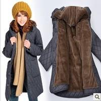 Anti season women's casual cotton-padded jacket medium-long wadded jacket plus size