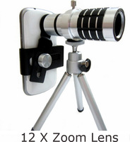 Aluminum 12x Zoom Optical Lens Mobile Phone Telescope with Tripod In Retaill Box for iPhone6 5S 4 4S NOTE 2 3 s5 s4 s3 5pcs/lot