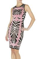 2014 New pink black white print  Bandage Dress Sexy Sleeveless evening dress Club Night HL party Celebrity Dress Wholesale