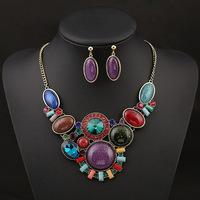 Vintage crystal jewelry sets wedding necklace & earrings set wholesale bijoux retro jewelry