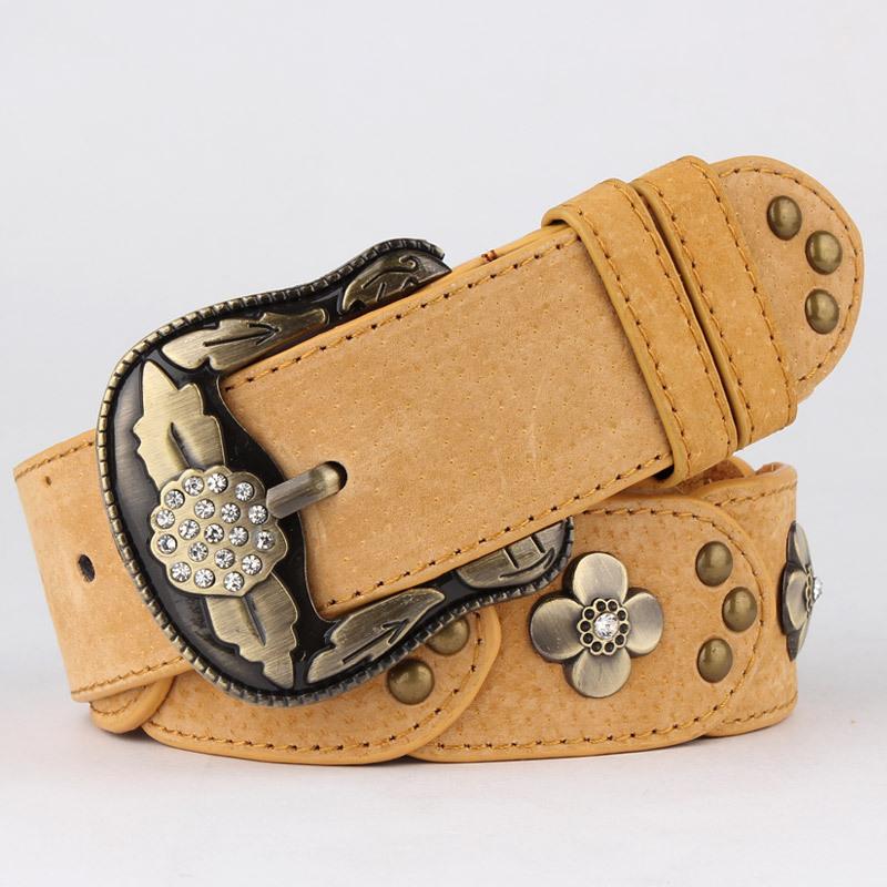 2015 Cintos Femininos Hot Sale Time-limited Floral Marcas Fashion Rhinestone Vintage Belt Women Genuine Leather Strap Inlaying(China (Mainland))