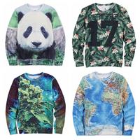 New 2014 men hoody coral/panda/world map print weed galaxy sweatshirt hoodies high street hip hop 3d fleece sweater