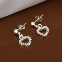 Hot Sale!!Free Shipping 925 Silver Earring,Fashion Sterling Silver Jewelry Austria Crystal Heart Earrings SMTE476