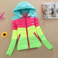 winter women's sports mixed colors Hooded down padded cotton jacket coat