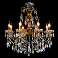 Fashion Big crystal chandelier lighting fixture  antique brass color Large hanging Light Fitting Bronze color for Foyer Hallway