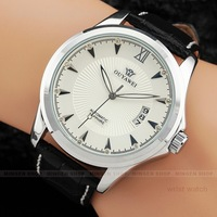 U369 Men Dress Round Crystal White Dial Date Black Leather Band Automatic Mechanical Wrist Watch