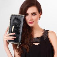 Ladies wallet leather zip around wallet new 2014 cowhide leather jacket women's mobile wallet