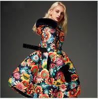 Luxury Women's 2014 Winter Fur Hooded Long 90%White Duck Down Parkas Sunflower Print Thick Plus Size XXL Down Jacket Dress Coat