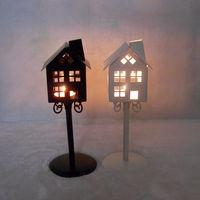 Wholesale new 8152 kiosk house wrought iron candlestick, romantic wedding lantern decoration gift supply