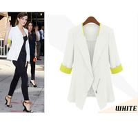 New 2014 Fashion Desigual Trendy Spring & Autumn Blazer Feminino Zipper Short Slim White Women Blazer Free Shipping XZX19088