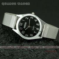 MINGEN SHOP - Cool Black Dial Silver Steel Band Men ladies Unisex quartz watch Q2003