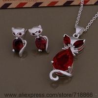 AS394 925 sterling silver Jewelry Sets Earring 667 + Necklace 757 /axeajola biwakada