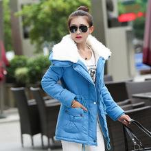 Ягненка хлопка-ватник длинные воротники пальто большой ярдов зимние пальто для беременных женщин теплое пальто женщина платье XXXL пуховик