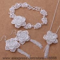 AS374 925 sterling silver Jewelry Sets Bracelet 285 + Necklace 699 + Earring 588 /awkajnra bicajzja