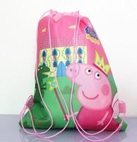 Peppa pig children , Pepe swine versatile Non-woven Drawstring, cartoon bag