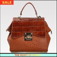 Fashion Genuine Leather Women Handbag Alligator Zipper Cover Messenger Bag Ostrich Female Desigual Bag B052