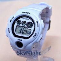 3PCS 2014 New OHSEN Fasion Cool White  Strap Sport LCD Digital BackLight Sport Digital Men women Boy Sport Watch 1206 Wholesale