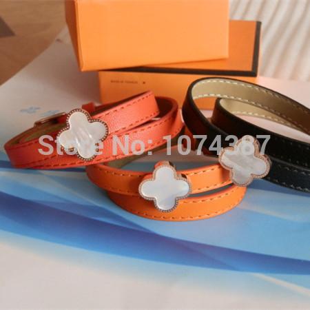 White shell clover flower brazaletes pulseras parfumes women , stainless steel leather bracelet Bangles famous brand jewelry(China (Mainland))