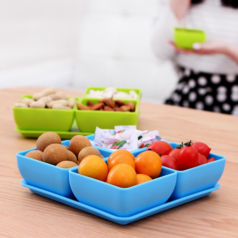 contratada combinação compota dazzle cor lanches moda conjunto 4 de classificação 1 tigela e prato melão e frutas prato prato de doces(China (Mainland))