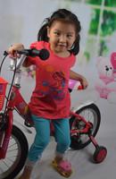 14 new children's summer cotton T-shirt girl 's clothes Children Tshirt bike behalf