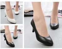 2014 Fine with shallow mouth Single shoes Seasons women Mid heel pointed toe work shoe women pumps nude high heel shoes X313